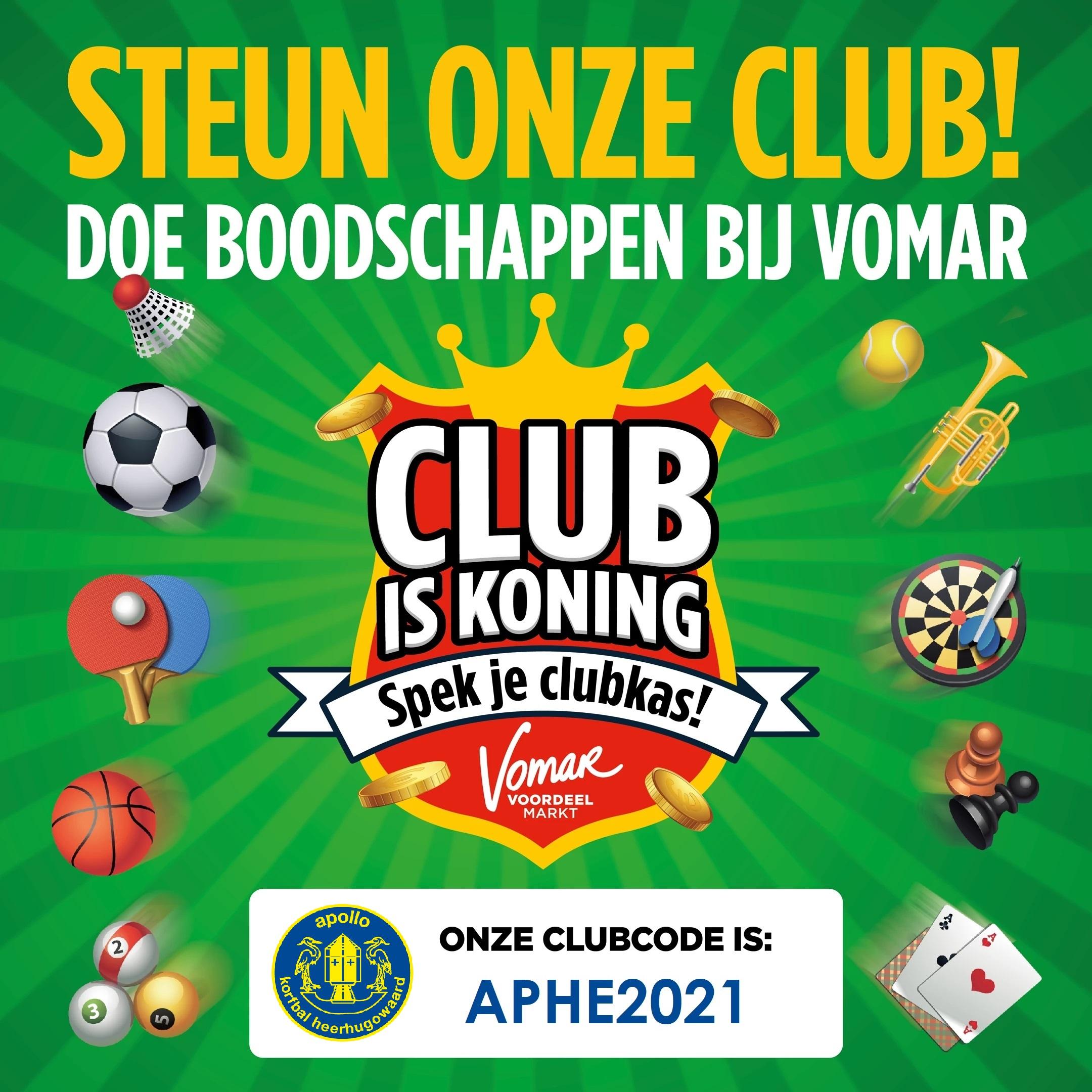 Spek de clubkas met Club is Koning sparen van Vomar!