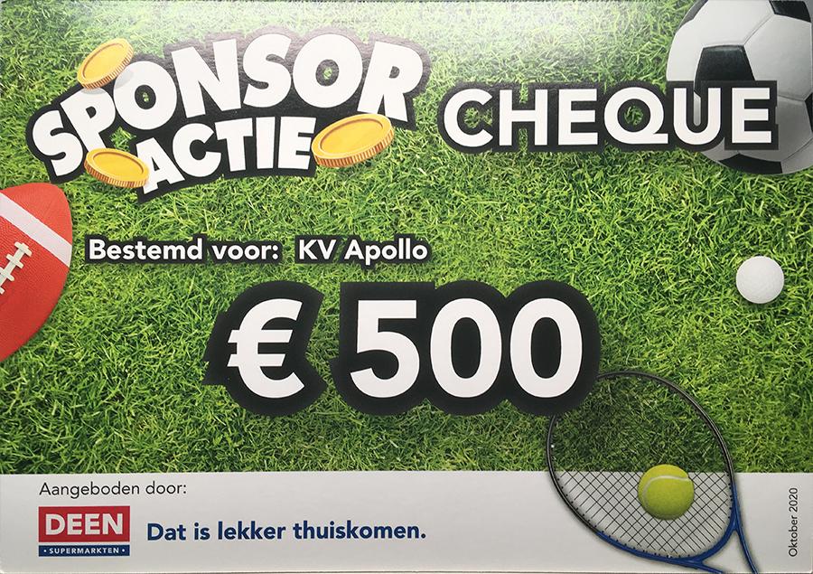 Mooie opbrengst Sponsoractie Deen